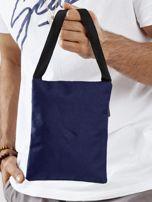 Ciemnoniebieska materiałowa torba saszetka                                  zdj.                                  5