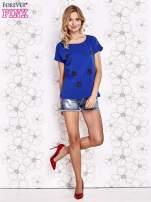 Ciemnoniebieski t-shirt z aplikacją owadów                                  zdj.                                  2