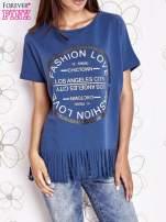 Ciemnoniebieski t-shirt z nadrukiem i frędzlami                                  zdj.                                  1