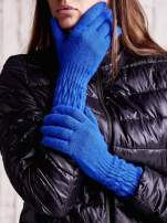 Ciemnoniebieskie długie rękawiczki z drapowanym rękawem                                  zdj.                                  1