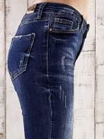 Ciemnoniebieskie spodnie skinny jeans z efektem marble denim                                  zdj.                                  5