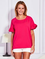 Ciemnoróżowa bluzka z falbanami na rękawach                                  zdj.                                  1