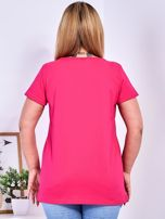 Ciemnoróżowy t-shirt z błyszczącą gwiazdą PLUS SIZE                                  zdj.                                  2