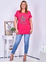 Ciemnoróżowy t-shirt z błyszczącą gwiazdą PLUS SIZE                                  zdj.                                  4