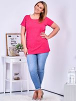 Ciemnoróżowy t-shirt z perełkami PLUS SIZE                                  zdj.                                  4