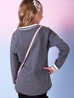 Ciemnoszara bluza dziewczęca V-neck ze ściągaczami                                  zdj.                                  2