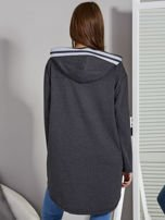 Ciemnoszara bluza z kontrastowym suwakiem                                   zdj.                                  2