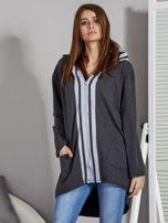 Ciemnoszara bluza z kontrastowym suwakiem                                   zdj.                                  6