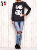 Ciemnoszara bluza z napisem BAD GIRL                                  zdj.                                  2