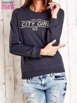 Ciemnoszara bluza z napisem CITY GIRL                                  zdj.                                  1