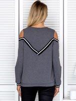 Ciemnoszara bluza z ukośnymi ściągaczami                                  zdj.                                  2