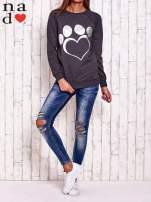 Ciemnoszara bluza z wzorem serca                                  zdj.                                  2