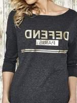 Ciemnoszara bluza ze złotym napisem i suwakiem
