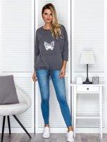 Ciemnoszara bluza z motywem motyli                                  zdj.                                  4