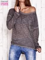 Ciemnoszara dekatyzowana bluzka z koronkowymi wstawkami                                                                          zdj.                                                                         1