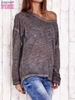 Ciemnoszara dekatyzowana bluzka z koronkowymi wstawkami                                  zdj.                                  3