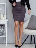 Ciemnoszara spódnica z imitacji zamszu                                  zdj.                                  1