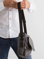 Ciemnoszara torba męska z klapką                                  zdj.                                  3