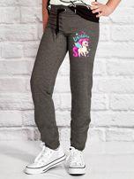 Ciemnoszare spodnie dresowe dla dziewczynki LITTLE UNICORN                                  zdj.                                  1