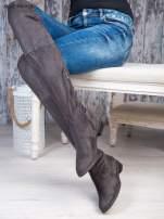 Ciemnoszare zamszowe kozaki faux suede za kolana wiązane na sznurek nad kolanem                                  zdj.                                  2