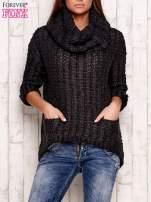 Ciemnoszary melanżowy sweter z szerokim golfem i kieszeniami                                   zdj.                                  1