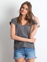 Ciemnoszary melanżowy t-shirt Vibes                                  zdj.                                  1
