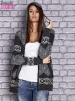 Ciemnoszary sweter w azteckie wzory z kapturem i kieszeniami                                  zdj.                                  6