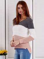 Ciemnoszary sweter z perełkami                                  zdj.                                  3