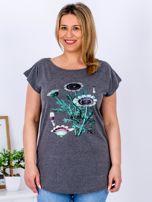 Ciemnoszary t-shirt z kwiatowym printem PLUS SIZE                                  zdj.                                  1