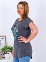 Ciemnoszary t-shirt z kwiatowym printem PLUS SIZE                                  zdj.                                  5