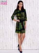 Ciemnozielona sukienka w kolorowe etniczne wzory                                  zdj.                                  2