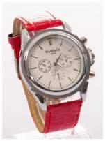 Cudny zegarek damski na czerwonym pasku