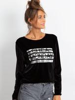 Czarna aksamitna bluza ze srebrnym nadrukiem                                  zdj.                                  4