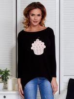 Czarna asymetryczna bluzka z babeczką                                  zdj.                                  1