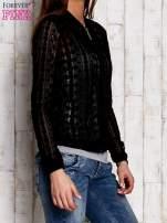 Czarna ażurowa bluzka na suwak                                  zdj.                                  3