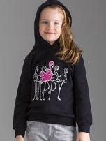 Czarna bluza dziewczęca z futrzanym kapturem                                  zdj.                                  5