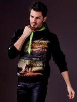 Czarna bluza męska z nowojorskim nadrukiem                                   zdj.                                  2
