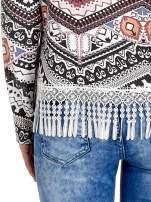 Czarna bluza w azteckie wzory z koronką z frędzlami                                  zdj.                                  6