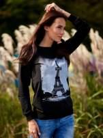 Czarna bluza z motywem Wieży Eiffla                                  zdj.                                  1