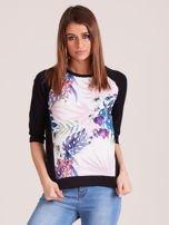 Czarna bluza z motywem egzotycznych roślin                                  zdj.                                  1