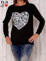 Czarna bluza z nadrukiem serca                                  zdj.                                  1