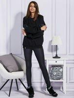 Czarna bluza ze skórzanymi wstawkami                                  zdj.                                  4