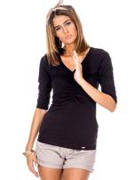 Czarna bluzka V-neck z marszczeniem                                  zdj.                                  1