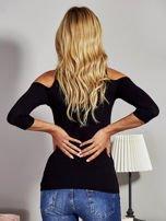Czarna bluzka lace up z wycięciami na rękawach                                  zdj.                                  2