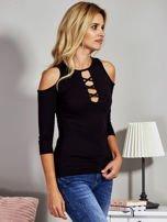 Czarna bluzka lace up z wycięciami na rękawach                                  zdj.                                  5