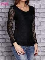 Czarna bluzka z ażurowymi rękawami                                  zdj.                                  3