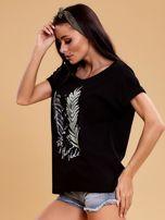 Czarna bluzka z motywem liści                                  zdj.                                  3