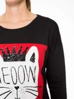 Czarna bluzka z nadrukiem kota z koroną i napisem MEOW                                  zdj.                                  7