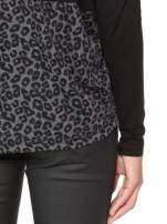 Czarna bluzka z panterkowym modułem i obniżaną linią ramion