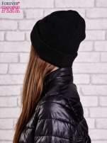Czarna czapka beanie z diamentową naszywką                                                                          zdj.                                                                         2